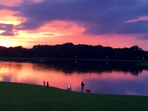 Sunset over the lake at Buffalo Trace
