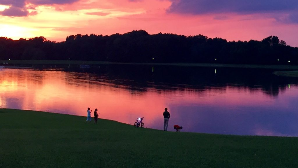 Sunset over the lake at Buffalo Trace Park