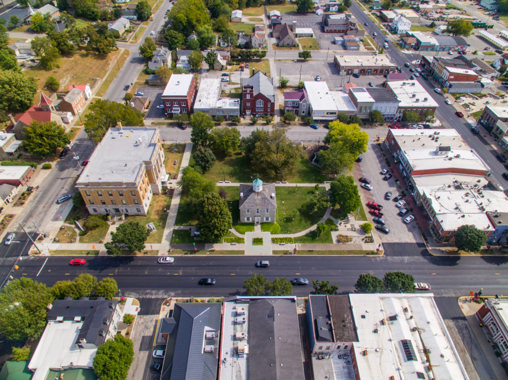 Aerial view of things in downtown Corydon